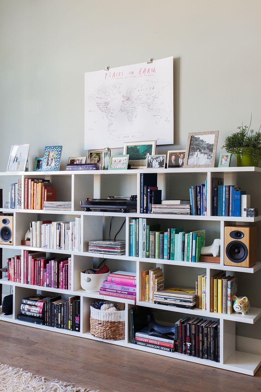 Color coded living room bookshelf idea for the modern home