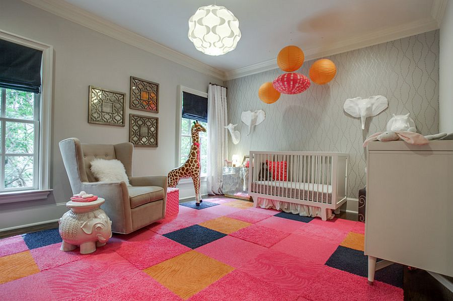 Colorful and classy nursery in pink and gray [Design: Blu Sky Living]