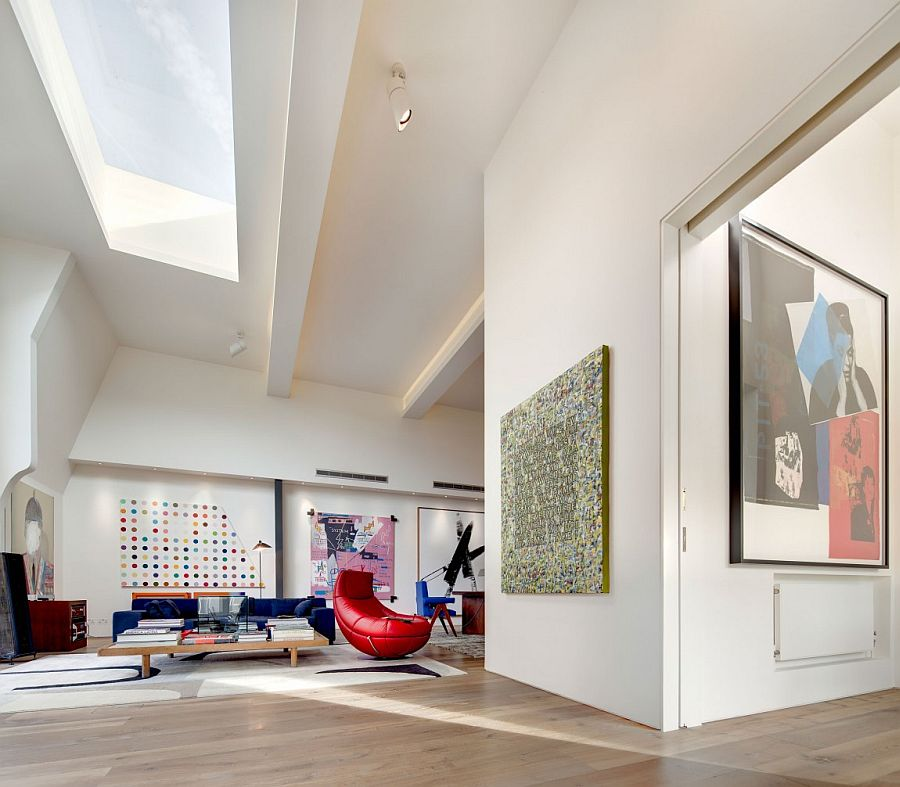 Colorful contemporary decor complements the art collection beautifully