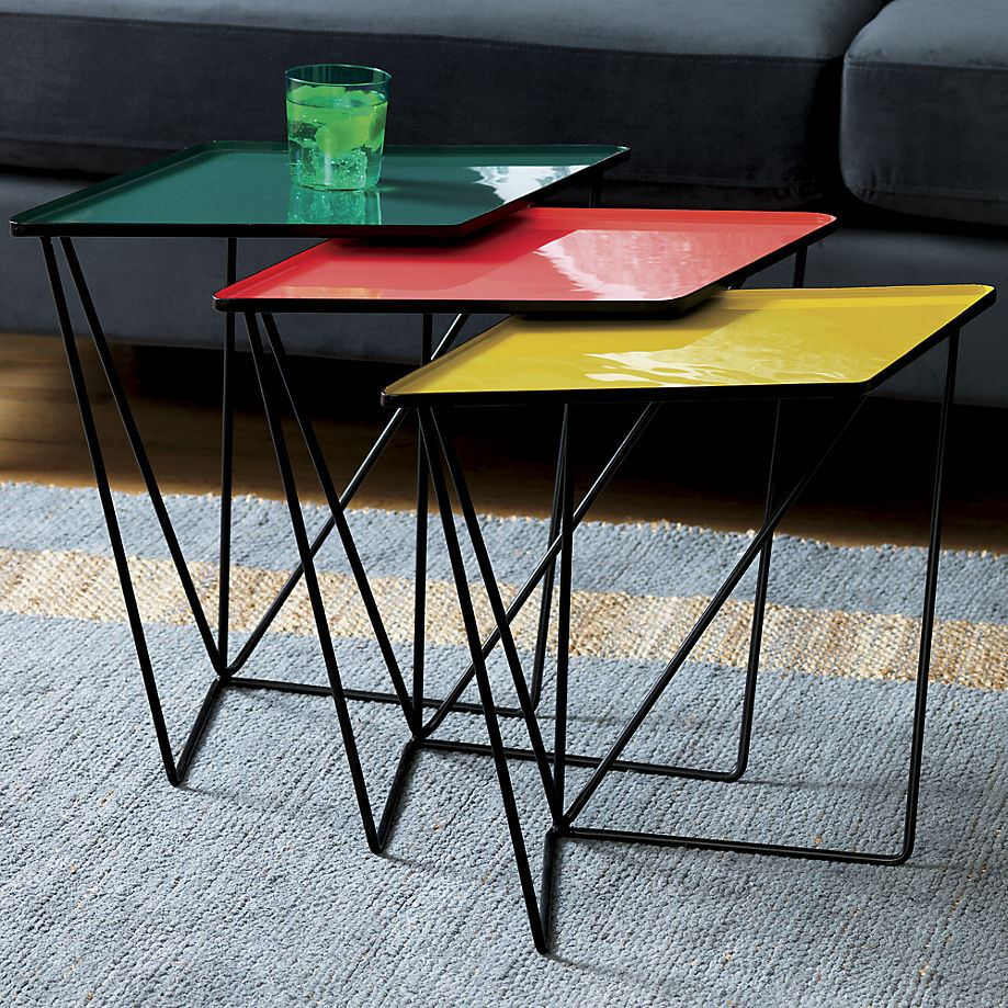 Colorful nesting tables from CB2 Bright Colors Shine in the 2015 Spring Collections