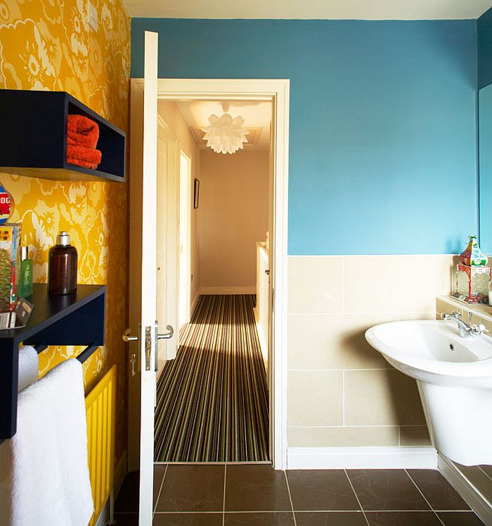 Colorful, small bathroom idea [Design: Think Contemporary]