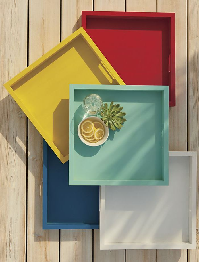 Colorful wooden serving trays from Crate & Barrel