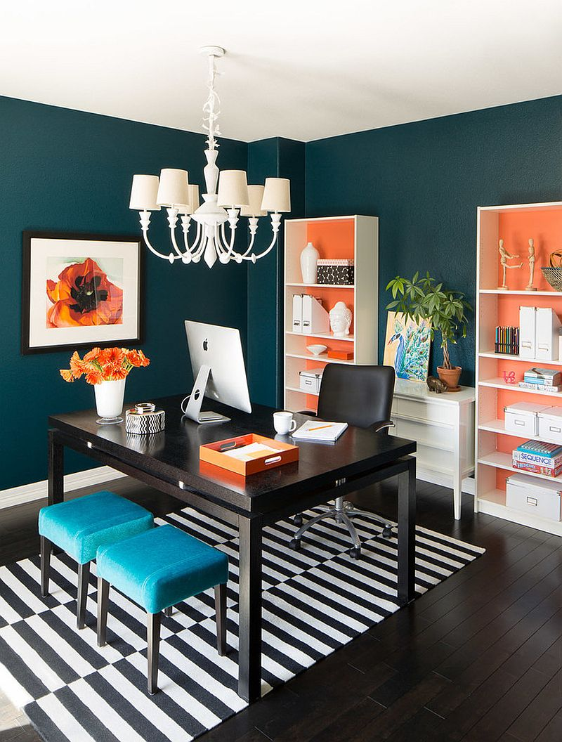 home office dark blue gallery wall. View In Gallery Combine Orange With Other Bright Hues [Design: Iba Design Associates] Home Office Dark Blue Wall