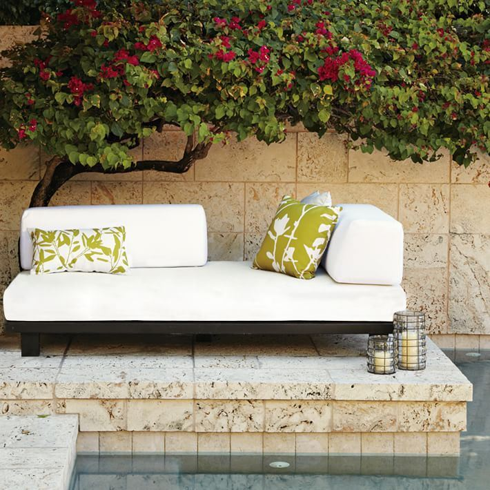 Compact outdoor sofa from West Elm
