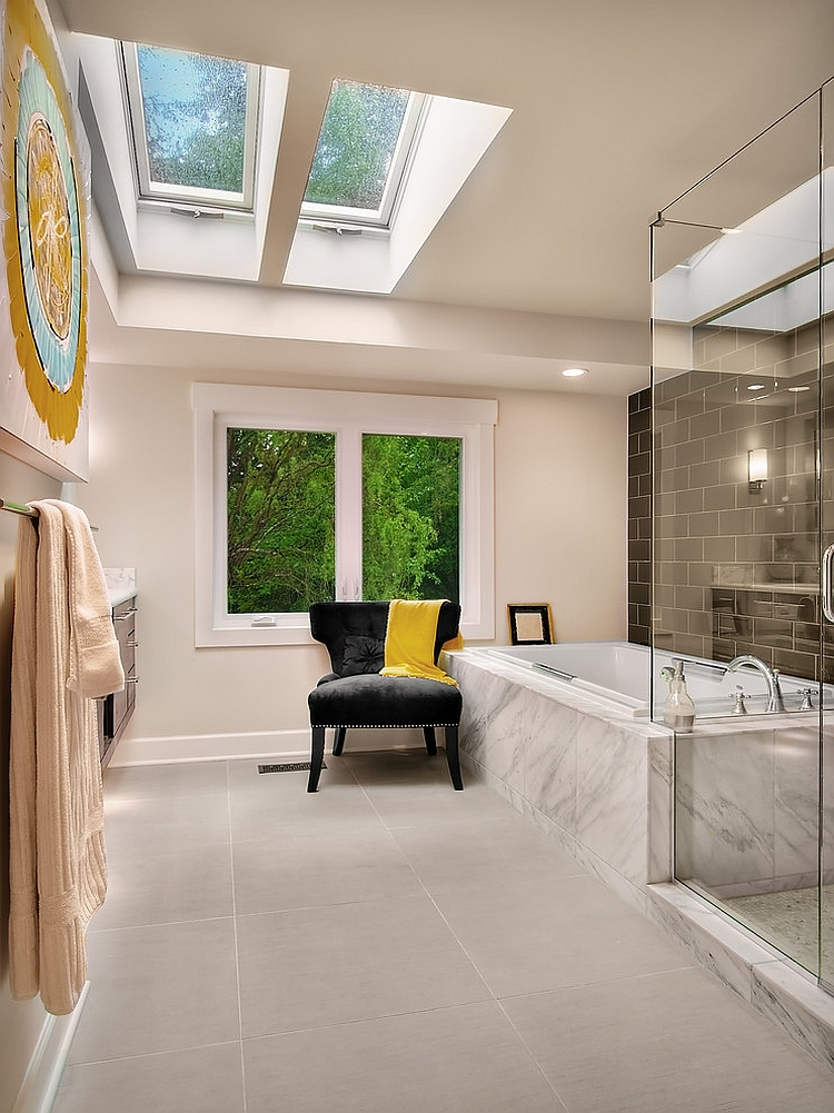 Contemporary bathroom with gorgeous use of skylight [Design: RW Anderson Homes]