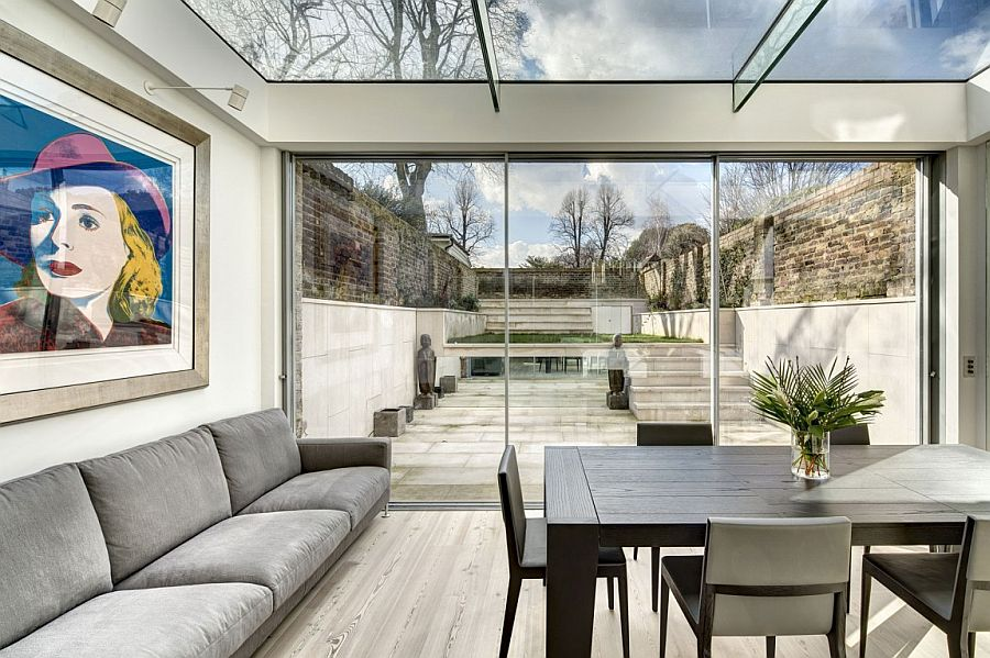 Contemporary extension in glass houses the dining area