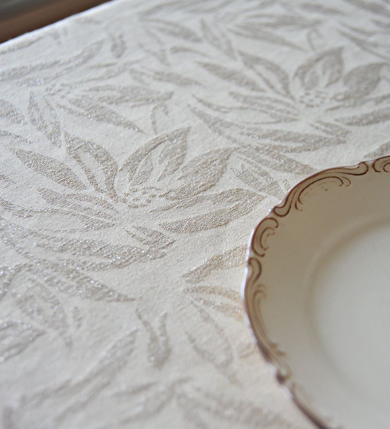 Cream and linen silver tablecloth from Homemood Make Your Next Party Shimmer with a Silver Tablecloth