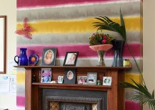 Create a bright and funky accent addition with colorful wallpaper