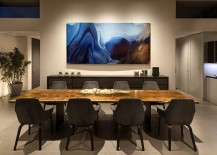 Creative use of art work adds color to the dining room