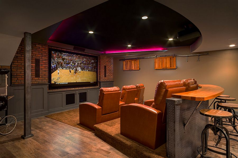 Designed Bar Adds To The Appeal Of The Basement Home Theater Design