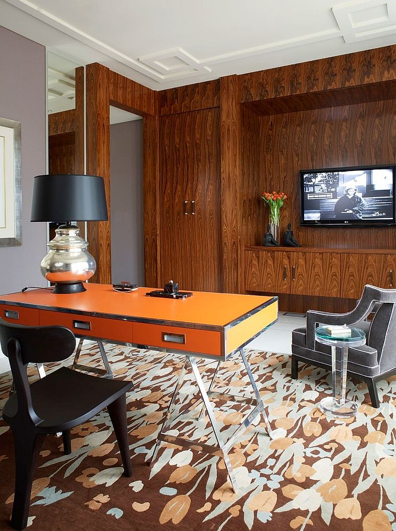 Custom orange desk steals the show in this home office