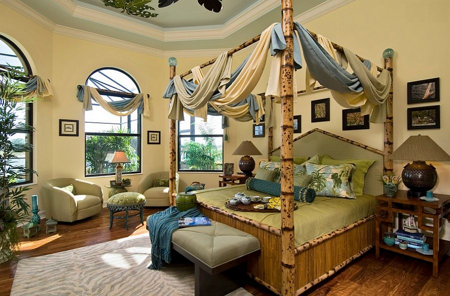 Custom tortoise shell bamboo bed in the tropical bedroom [Design: Peggy Oberlin Interiors]