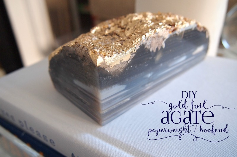 DIY Gold Foil Agate Bookend/Paperweight