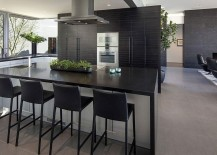 Dark shelves in the backdrop add sophistication to the sleek kitchen