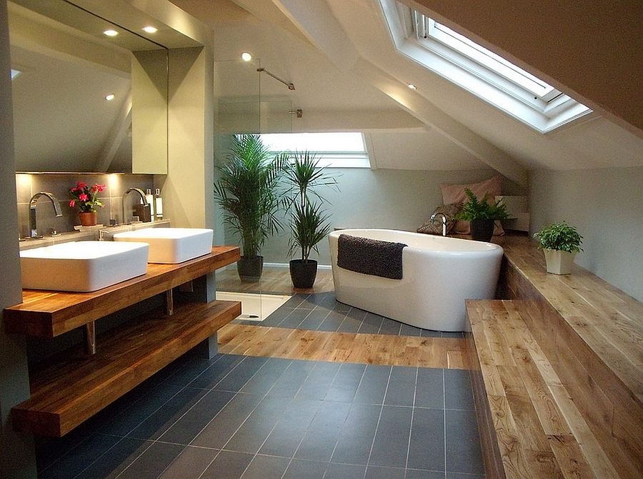 Dashing Bathroom With Slanted Ceiling And Skylight Design Little England Co