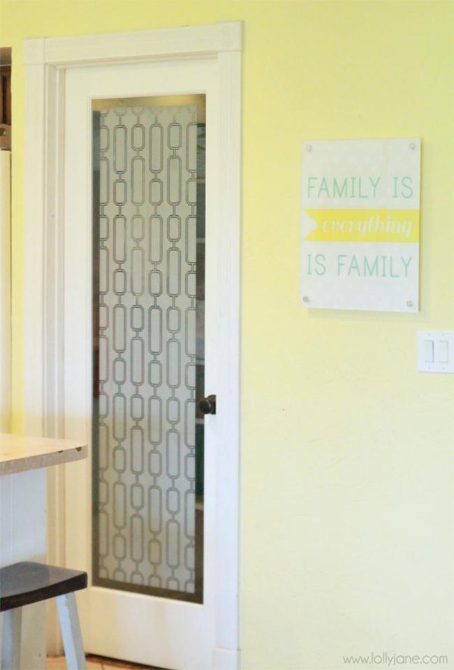 Decorative Film on Pantry Door