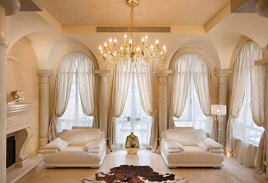 Delicate drapes seem perfect for the Mediterranean living room [Photography: Elad Gonen] : same-curtains-in-every-room - designwebi.com
