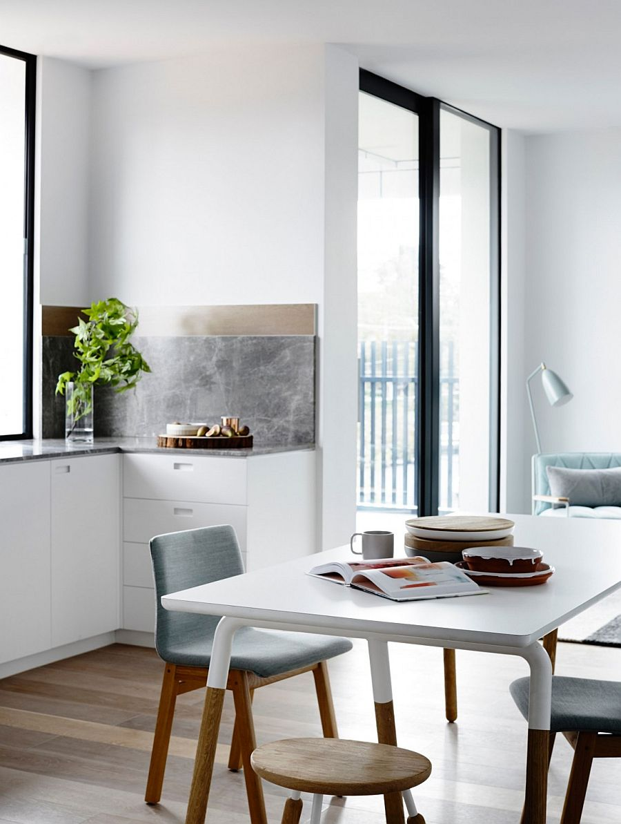 Dining table showcases a dip painted style