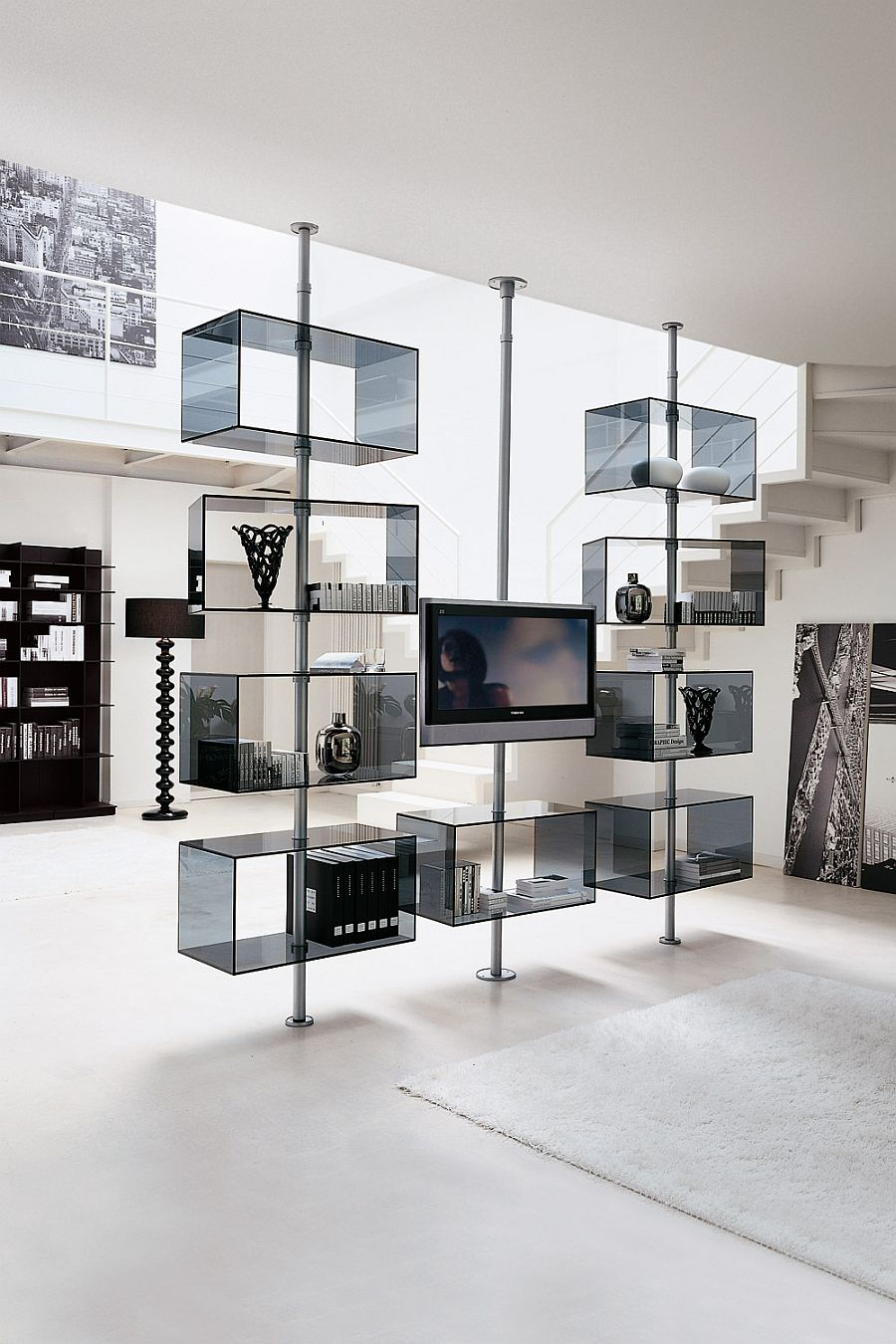 Domino TV Stand in metal and glass