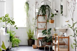 Eclectic Bathroom with natural greenery  12 Creative Ways to Use Plants in The Bathroom Eclectic Bathroom 270x180