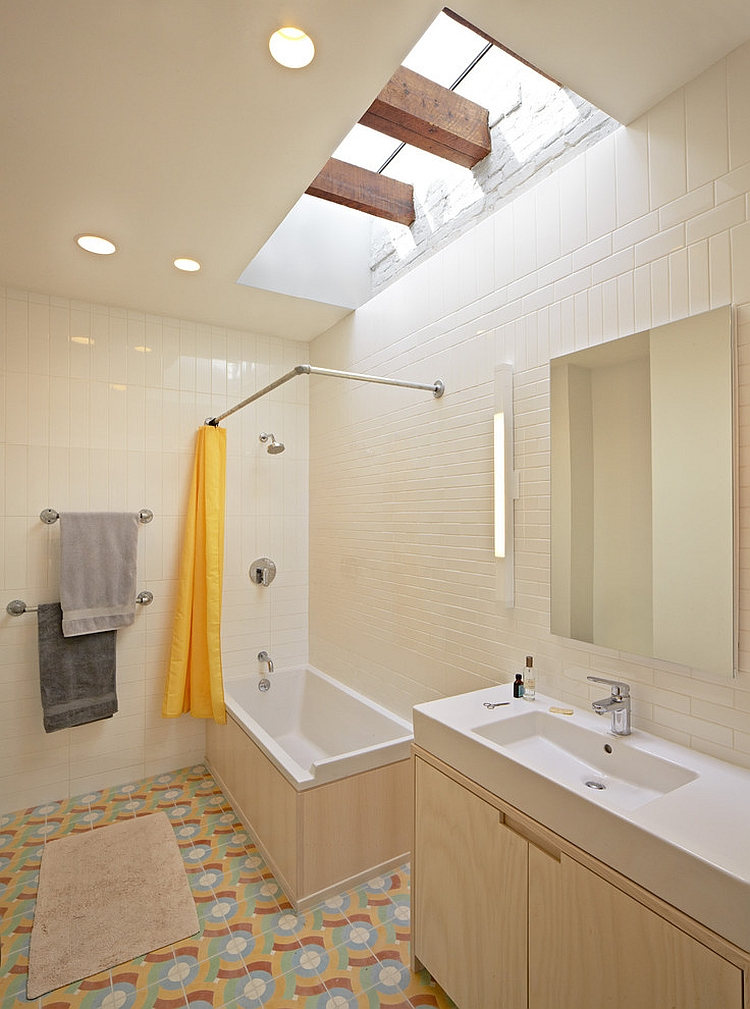 Eclectic bathroom with a cool, grazing skylight [Design: Jordan Parnass Digital Architecture]