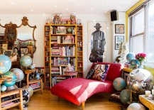 Eclectic living room is al about color and contrast