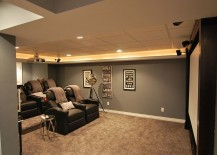 Elegant basement home theater keeps things simple