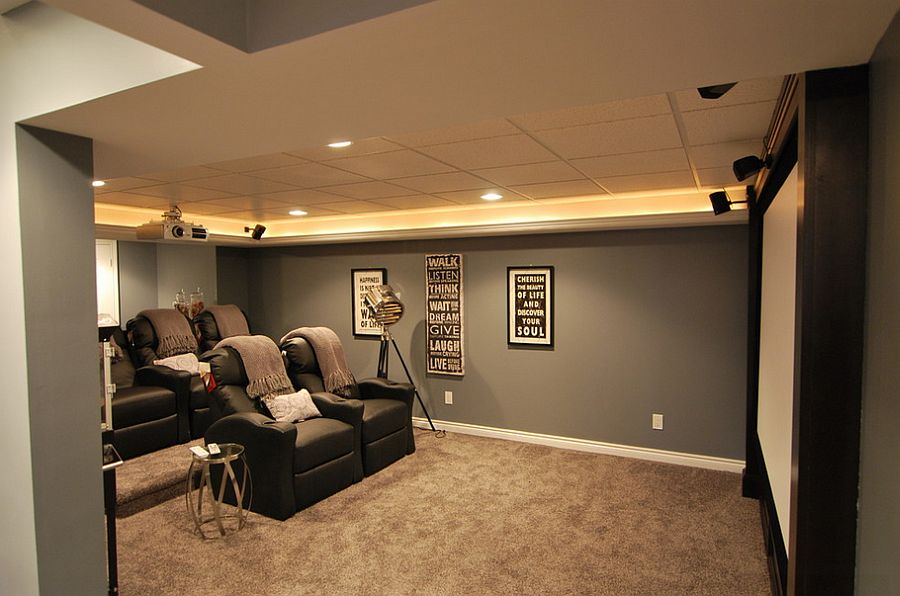 elegant basement home theater keeps things simple design plan 2 finish - Home Theater Lighting Design