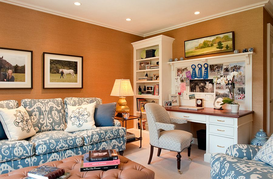 Elegant home office in orange with pops of blue