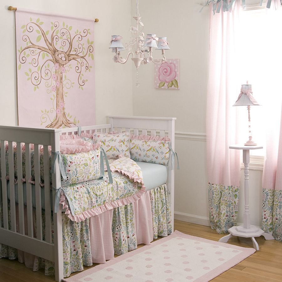 Elegant use of pink in the bright and beautiful nursery [Design: Carousel Designs]