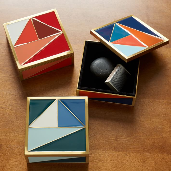 Enamel tile boxes from West Elm