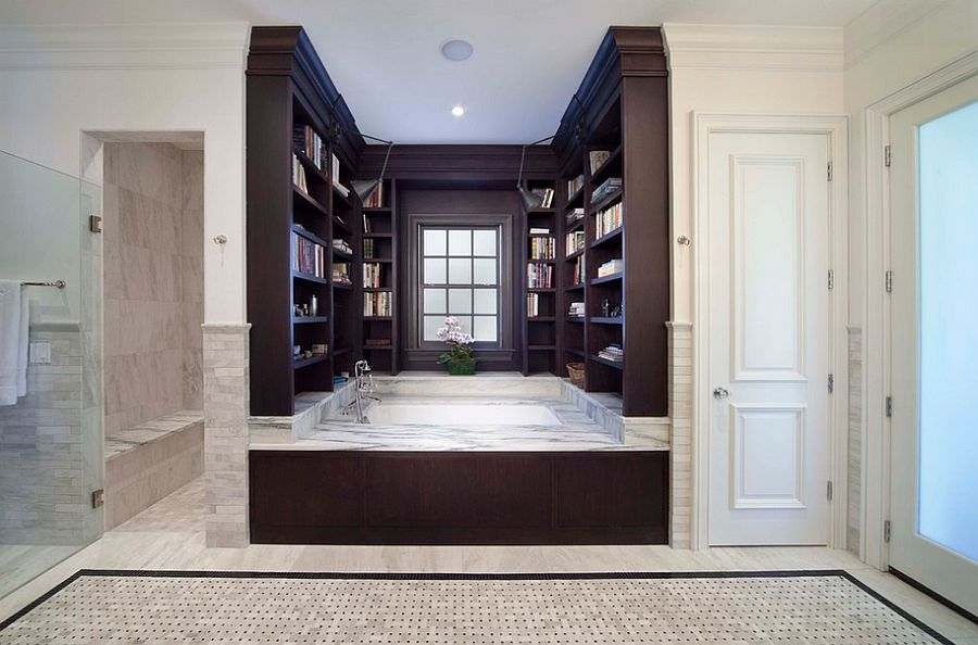 Enjoy a soothing dip in a bathtub surrounded by books! [Design: Phil Kean Design Group]