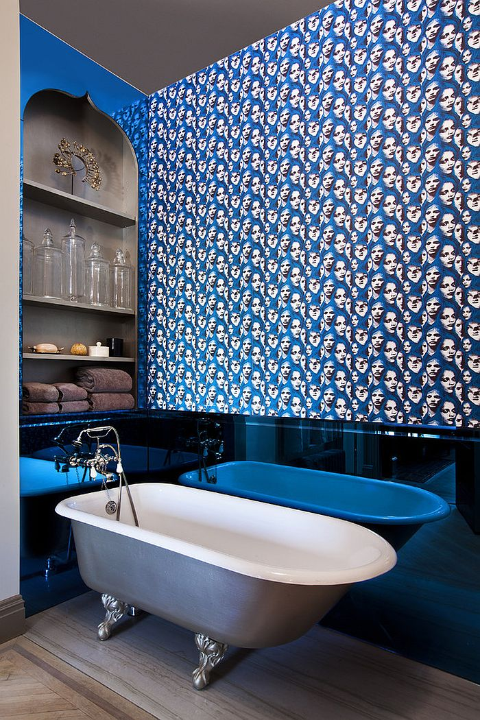 view in gallery exceptional way of adding blue to the bathroom design jp warren interiors - Eclectic Bathroom