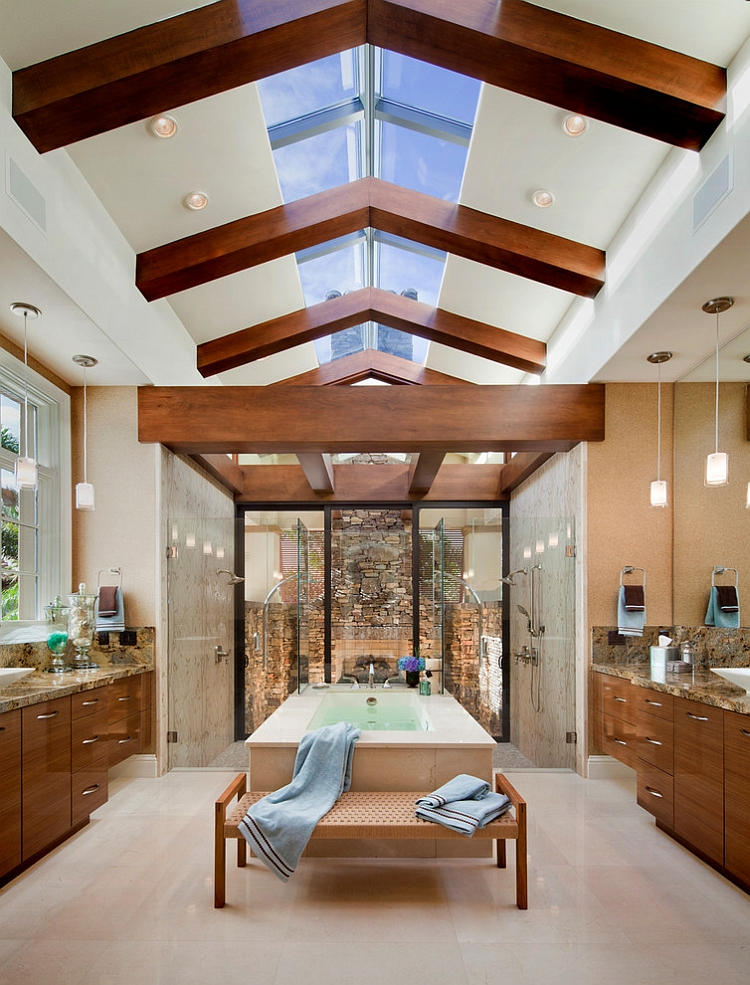 Exquisite bathroom with two showers [Design: Origins Residential Design]