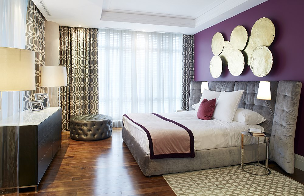 Exquisite bedroom of the residence with a touch of purple elegance