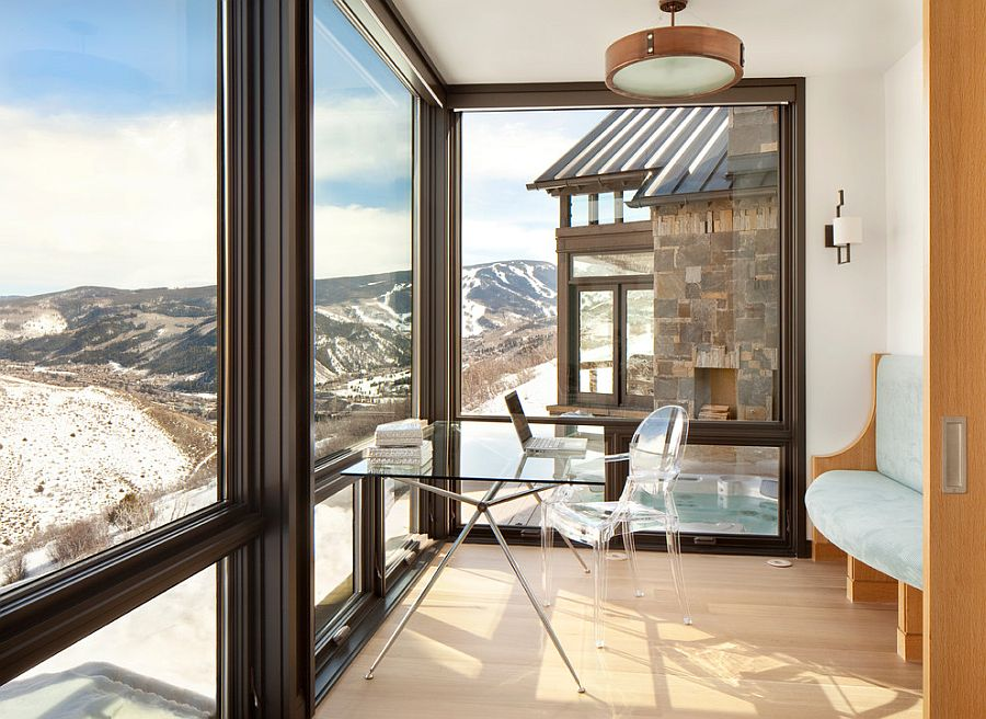 Exquisite home office with amazing mountain view