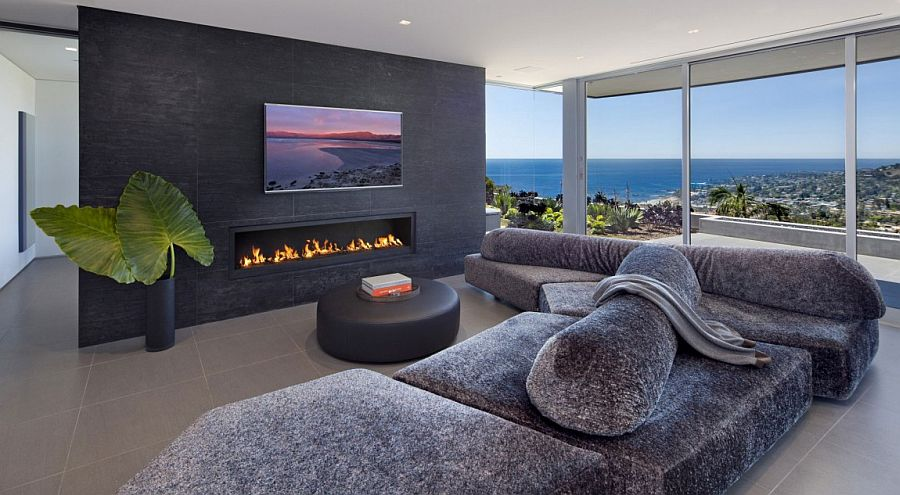 Exquisite living area with a view of Laguna Beach
