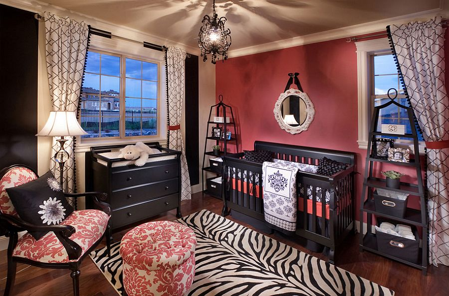 Exquisite use of pink and black in the nursery [Design: Celebrity Communities]