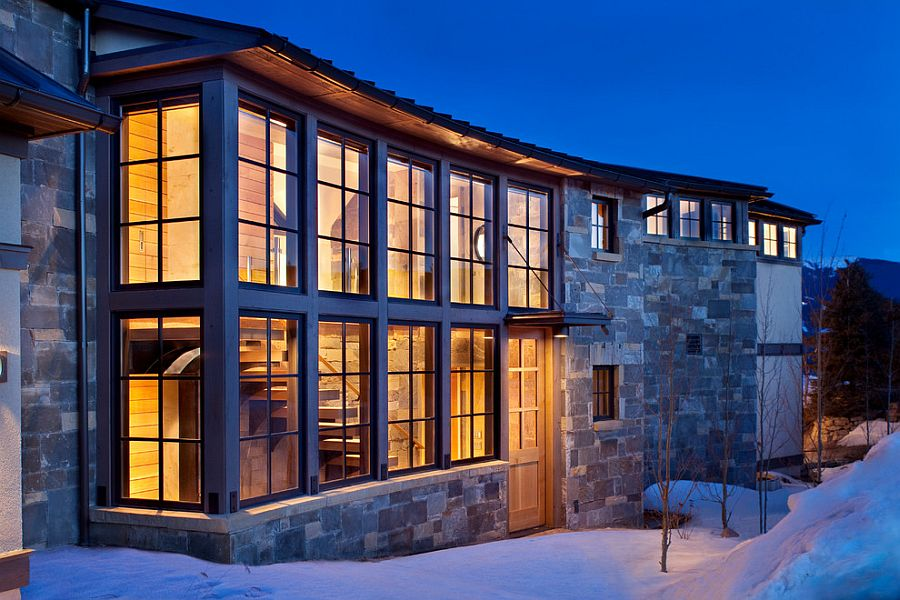 Exterior of the vacation home clad in stone