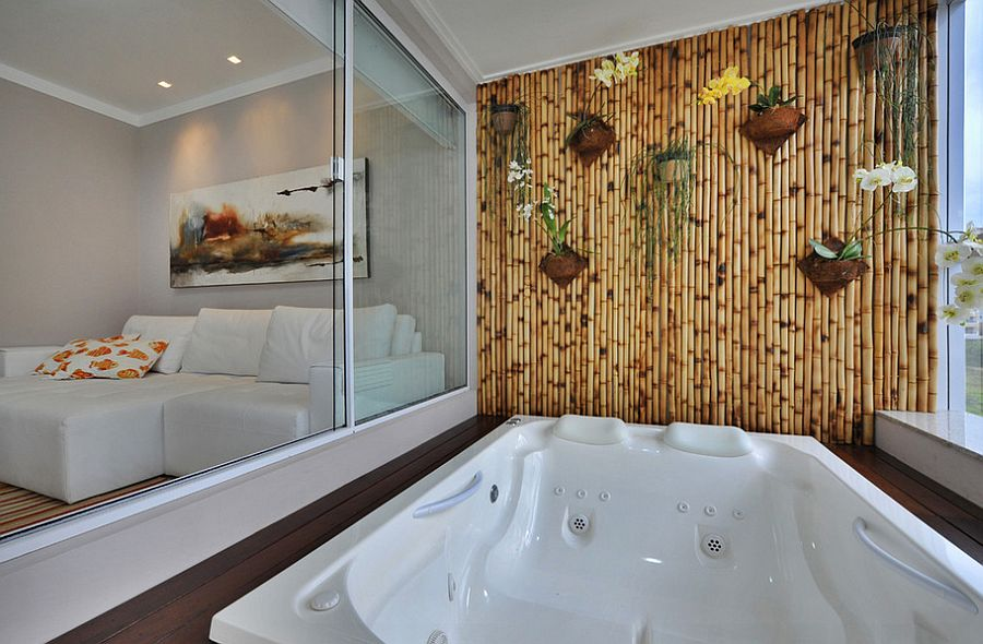 easy bamboo interior decoration.  Fabulous bamboo wall acts as the perfect backdrop for a tranquil soothing dip Design 15 Inspired Ways to Bring Home Goodness of Bamboo