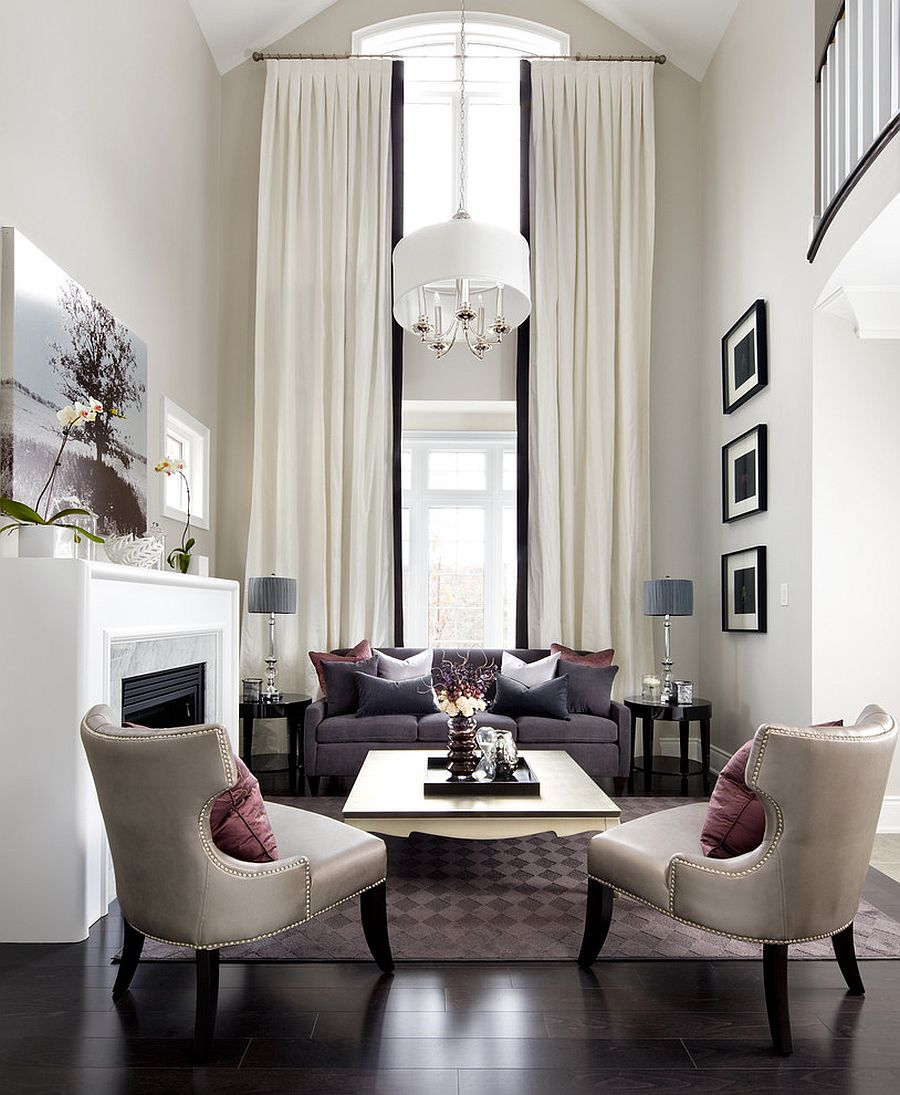 View In Gallery Fabulous Contemporary Living Room With Transitional Style [ Design: Jane Lockhart Interior Design]