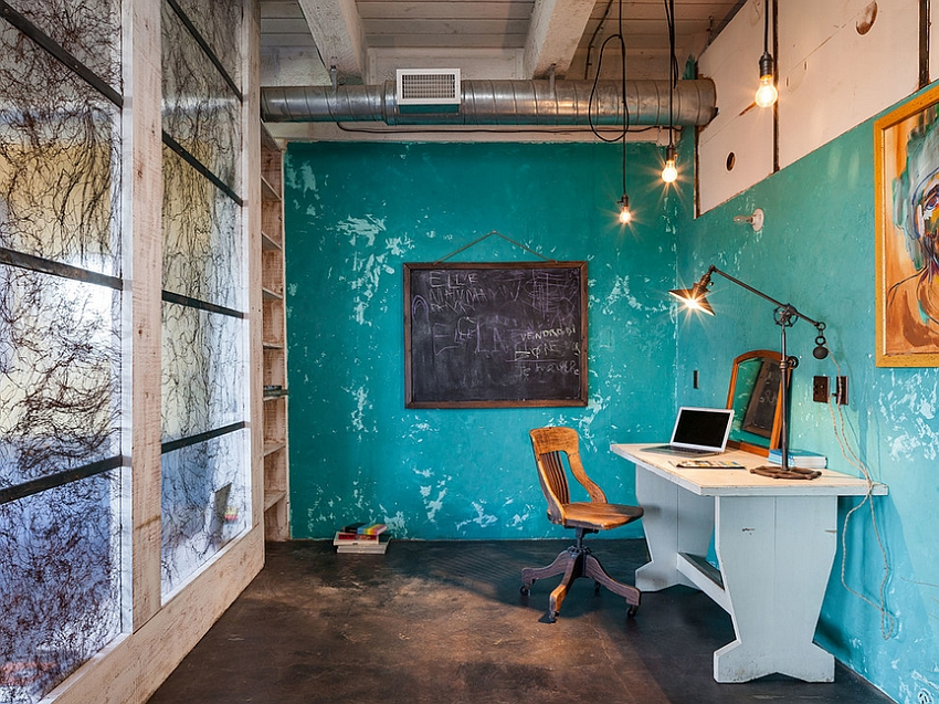 Fabulous industrial style home office with as splash of blue [From: KuDa Photography]