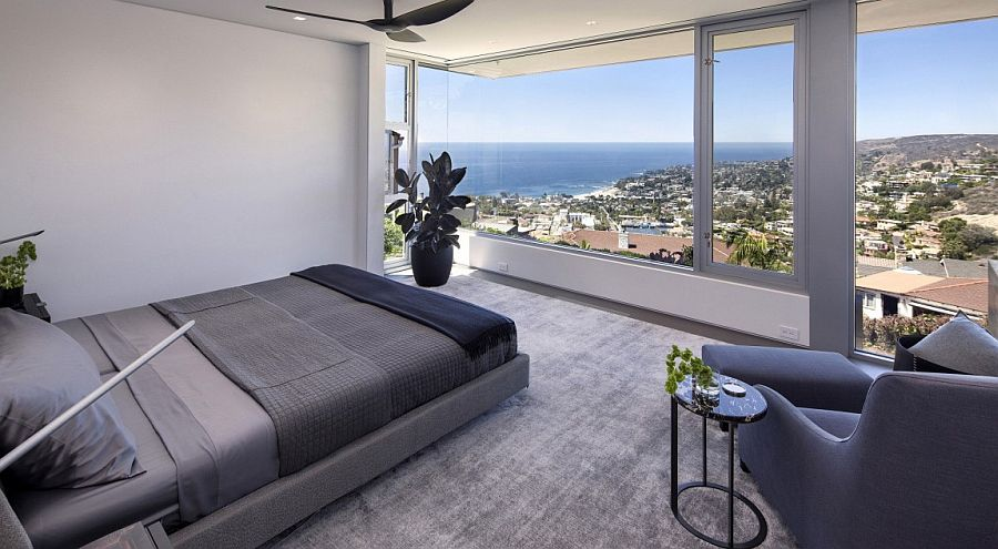 Fabulous master bedroom offers sensational views of Laguna Beach
