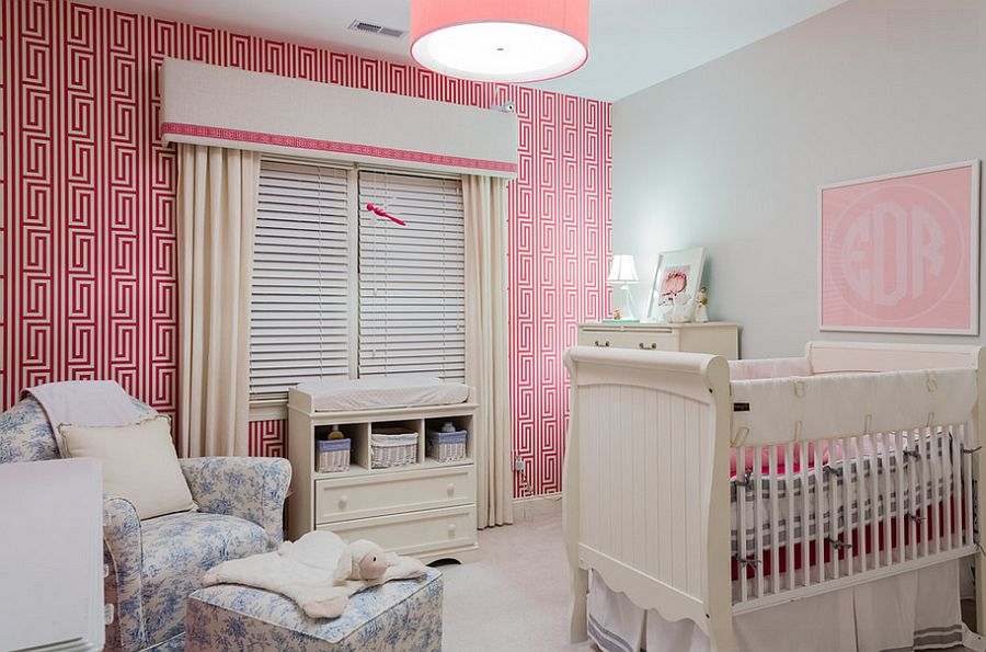 Fabulous use of pink wallpaper in the nursery [Design: Paige Designs]