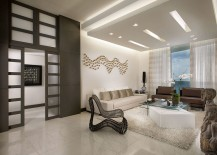 False ceiling adds unassuming beauty to the living room
