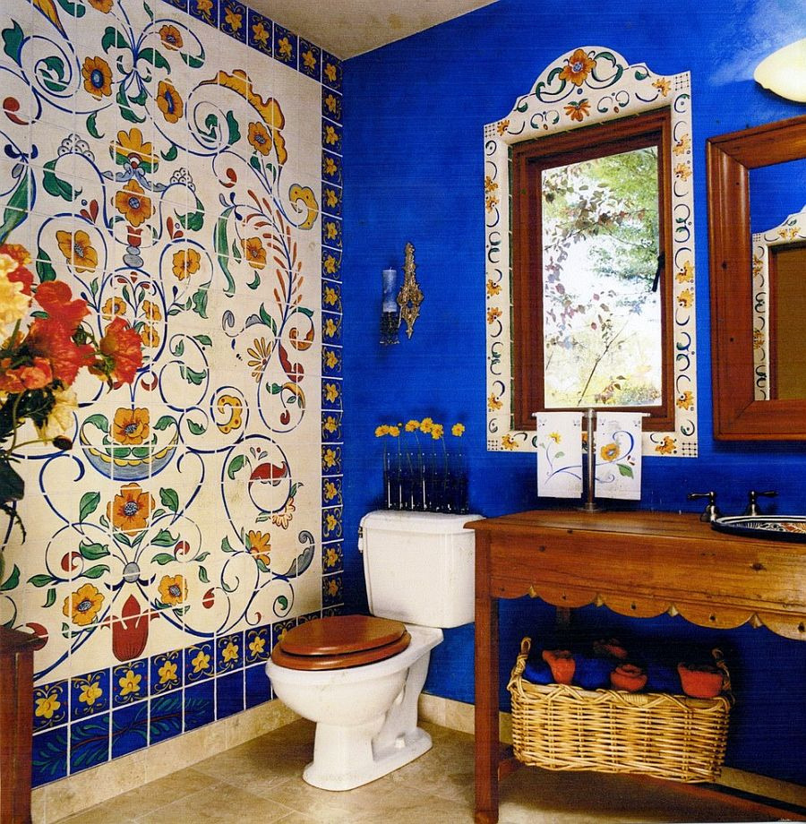 15 eclectic bathrooms with a splash of delightful blue for Bathroom mural tiles