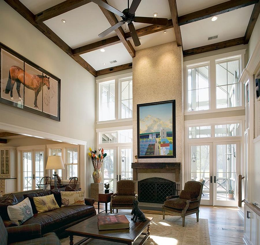 ... ceiling beams and wall art combine to give the living room a stunning  ambiance