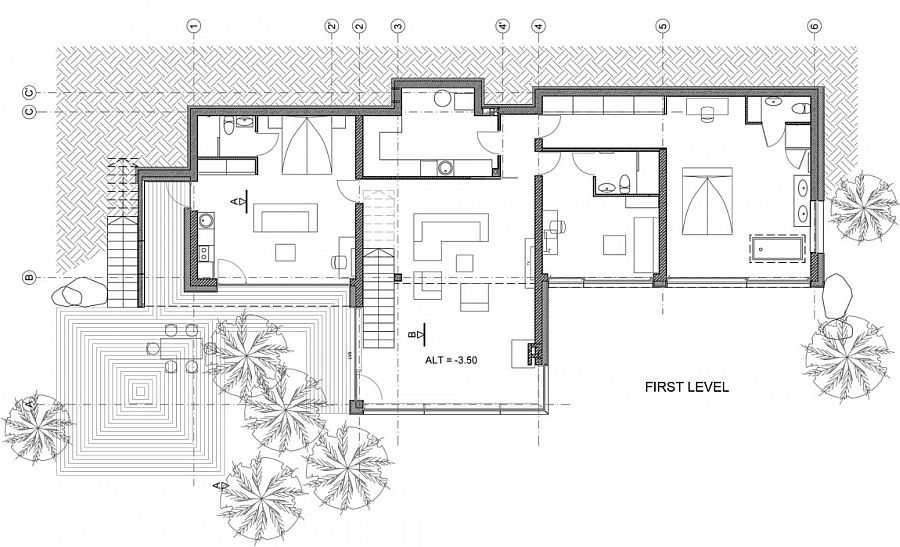 Floor plan of the ground floor of the House Villa