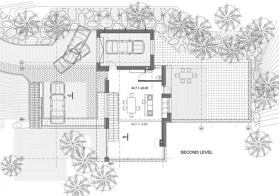 Floor plan of the second level of the lovely forest house in Vilnius