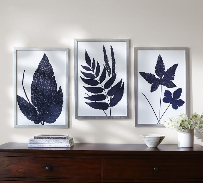 Framed indigo ferns from Pottery Barn